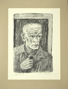 Selbstbildnis  (Self-Portrait) - Original Lithograph by E.Heckel - 1965