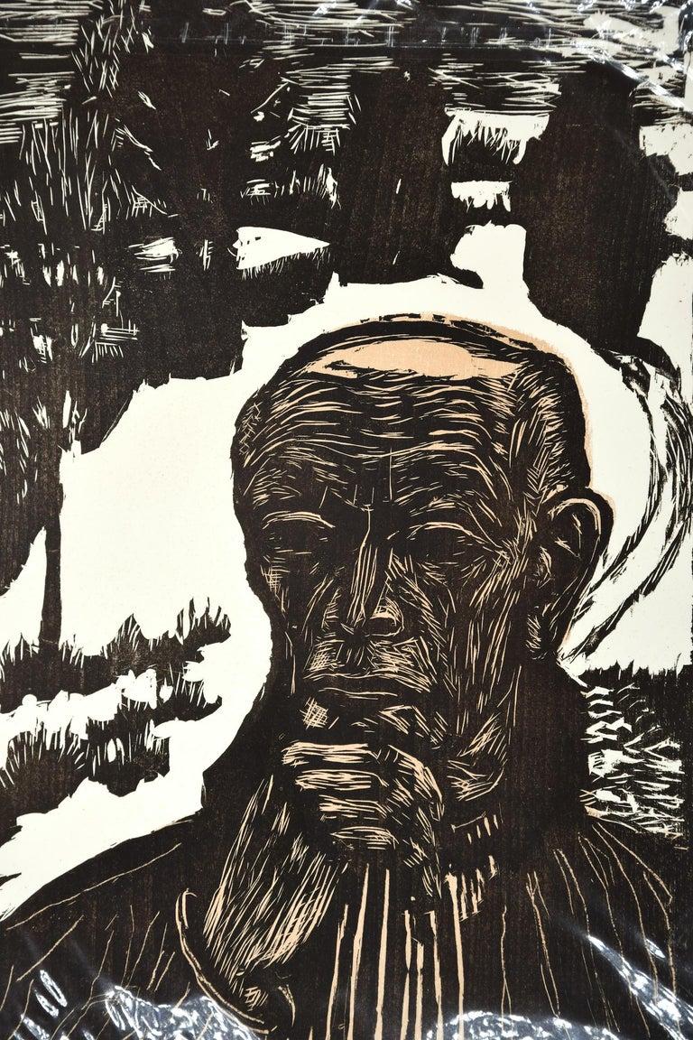 Selbstbildnis  (Self-Portrait), Original Woodcut - Print by Erich Heckel