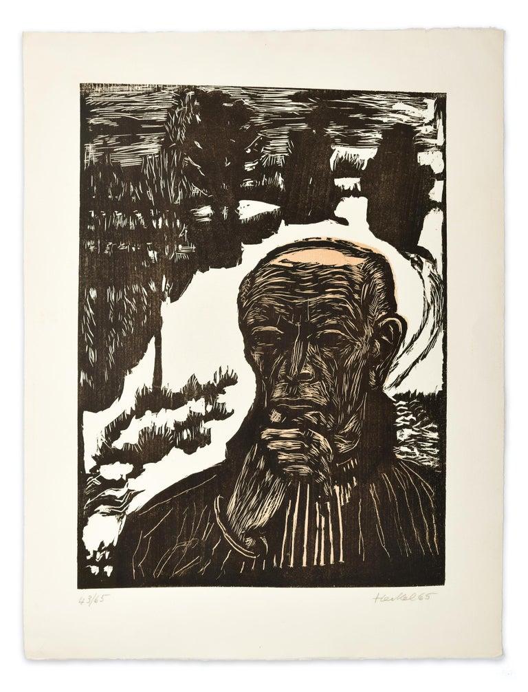 Selbstbildnis  (Self-Portrait), Original Woodcut - Expressionist Print by Erich Heckel