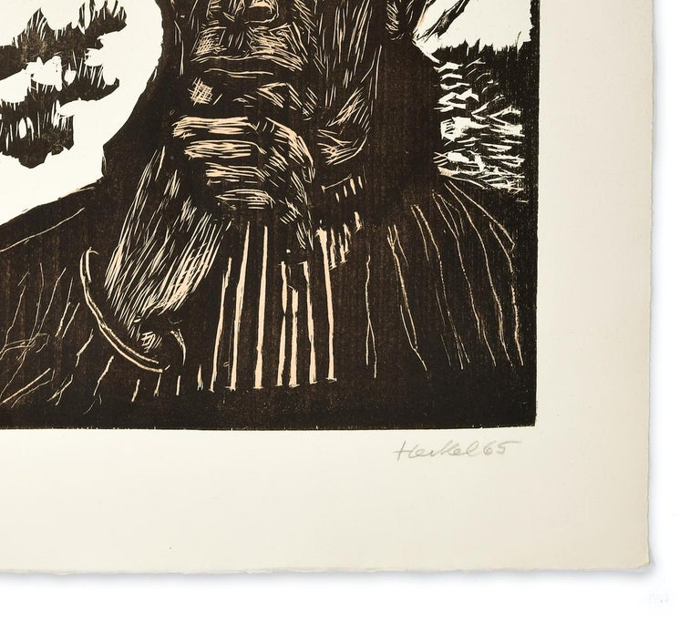 Selbstbildnis  (Self-Portrait), Original Woodcut - Beige Portrait Print by Erich Heckel