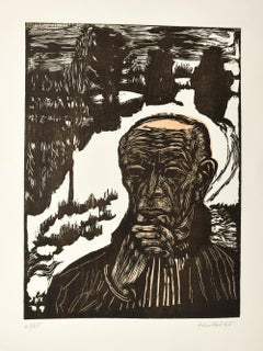 Selbstbildnis  (Self-Portrait) - Original Woodcut 1965