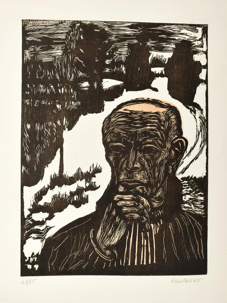 Erich Heckel Portrait Print - Selbstbildnis  (Self-Portrait), Original Woodcut