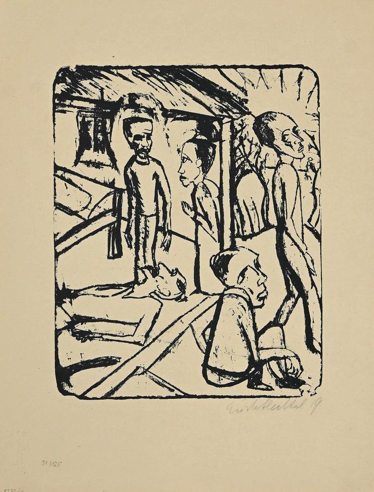 Erich Heckel Figurative Print - The Brothers Karamazov - Original Lithograph by E. Heckel - 1919