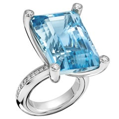 Erich Zimmermann Aquamarine Baguette White Diamond Platinum Princess Ring