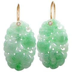 Erich Zimmermann Carved Green Jadeite White Diamond Rose Gold Drop Earrings