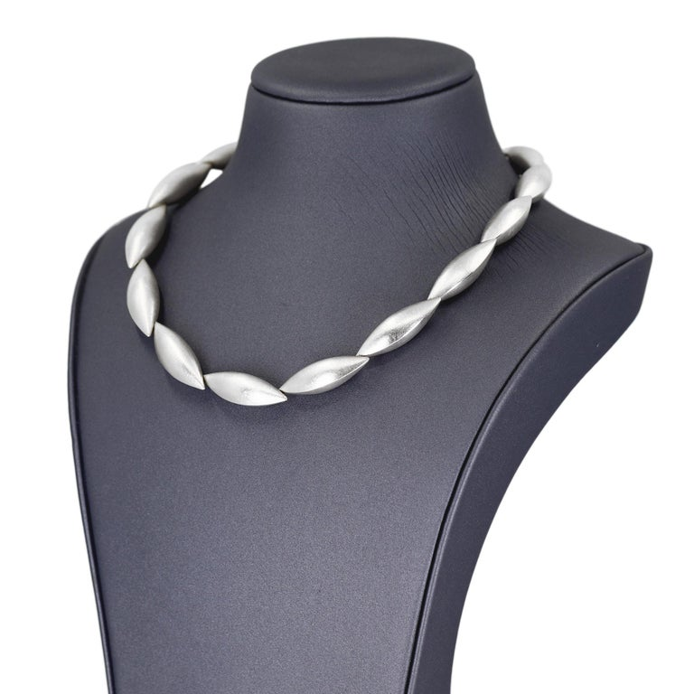 Contemporary Erich Zimmermann Fifteen Pod Brushed Fine Silver Cocoon Collar Necklace For Sale