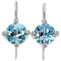 Erich Zimmermann Gem Aquamarine White Diamond White Gold Princess Earrings