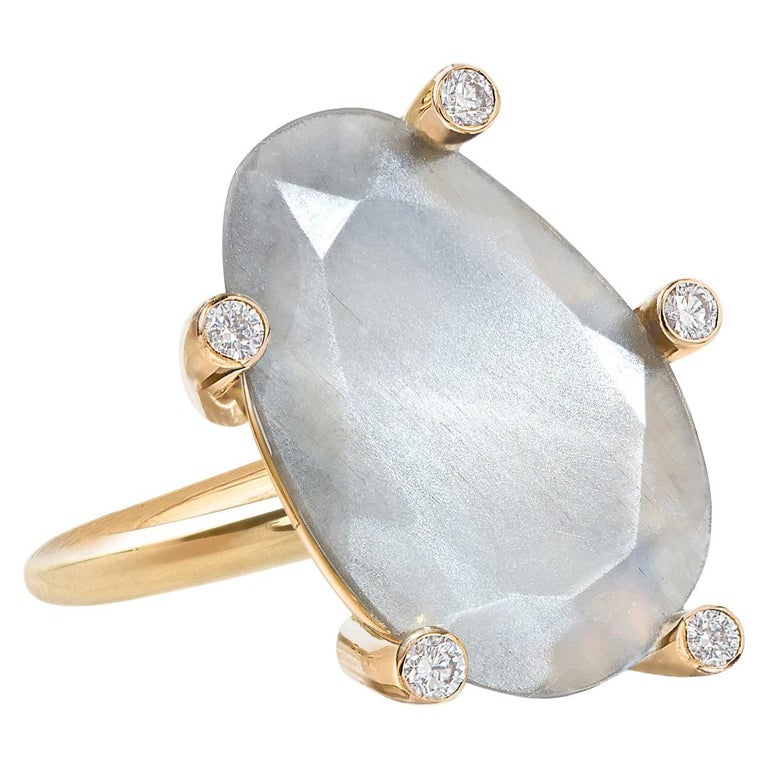 Erich Zimmermann Glowing Reflective Moonstone White Diamond Gold Snowflake Ring For Sale