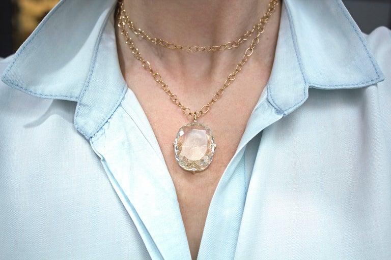 Oval Cut Erich Zimmermann Golden Rutilated Quartz White Diamond Rose Gold Long Necklace For Sale