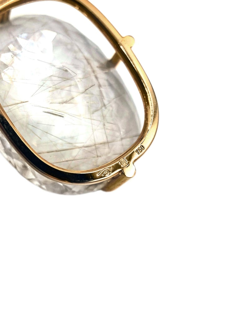Erich Zimmermann Golden Rutilated Quartz White Diamond Rose Gold Long Necklace In New Condition For Sale In Dallas, TX