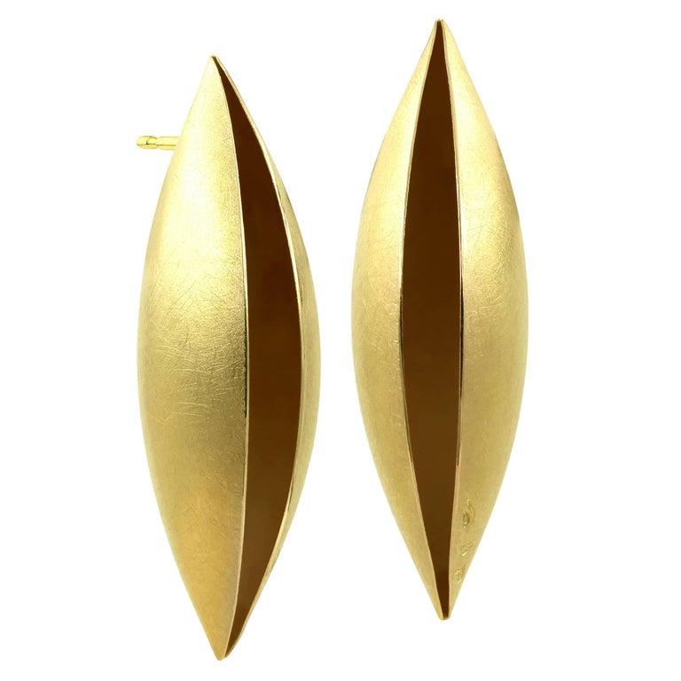Erich Zimmermann Handmade Matte Yellow Gold Long Cocoon Stud Earrings