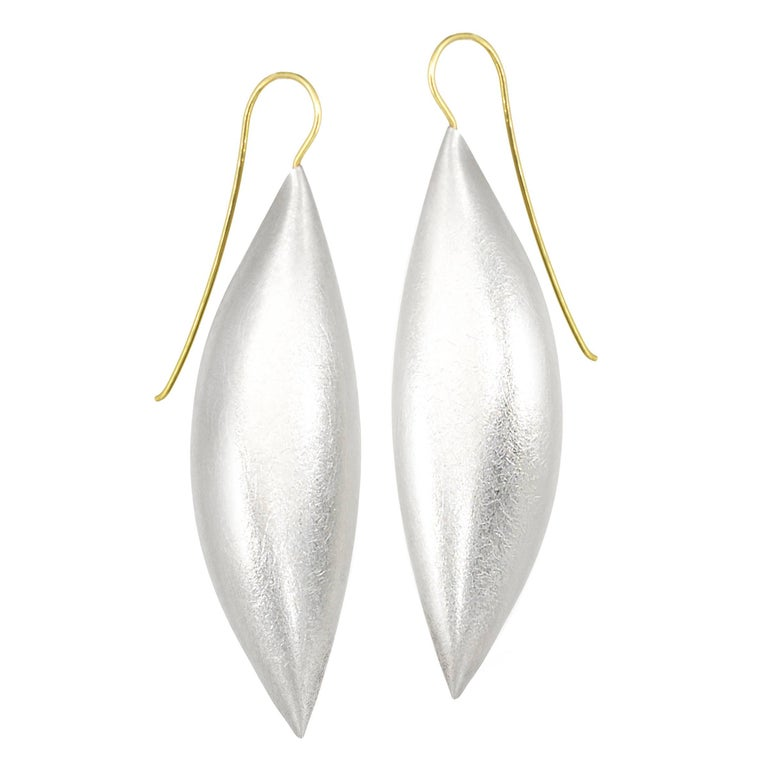 Erich Zimmermann Large Cocoon Pod Silver Earrings For Sale