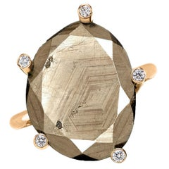 Erich Zimmermann Natural Reflective Brown Sapphire White Diamond Gold Ring
