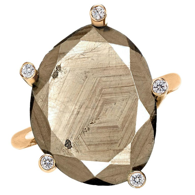 Erich Zimmermann Natural Reflective Brown Sapphire White Diamond Gold Ring For Sale