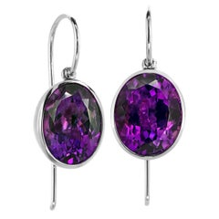 Erich Zimmermann Oval Amethyst White Gold Princess Bowl One of a Kind Earrings