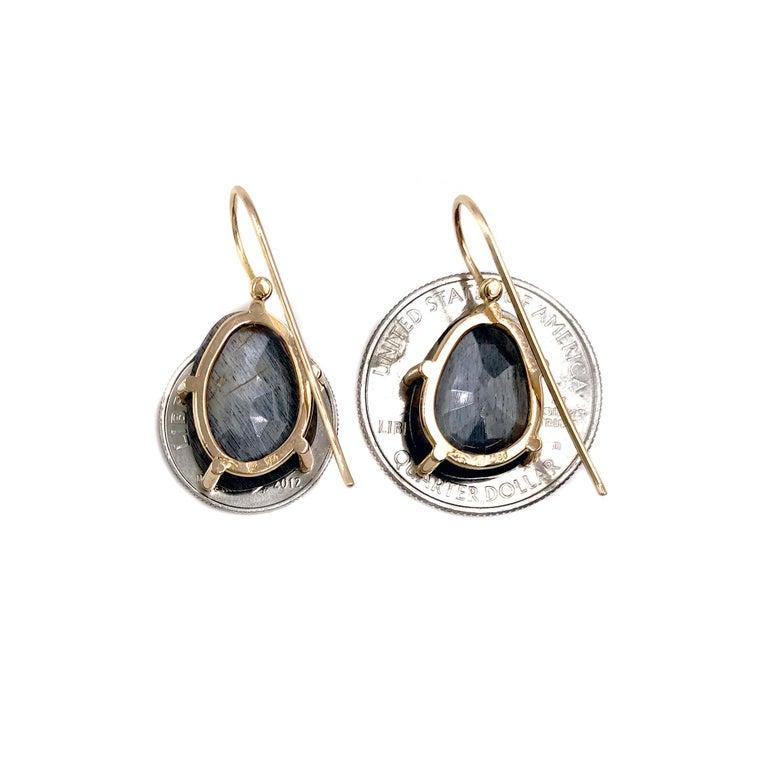 Artist Erich Zimmermann Reflective Gray Moonstone White Diamond Rose Gold Earrings For Sale