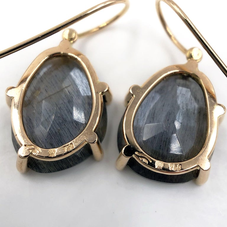 Round Cut Erich Zimmermann Reflective Gray Moonstone White Diamond Rose Gold Earrings For Sale