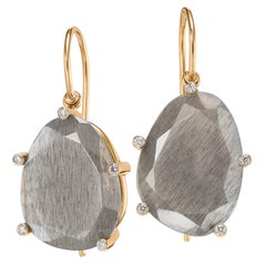 Erich Zimmermann Reflective Gray Moonstone White Diamond Rose Gold Earrings