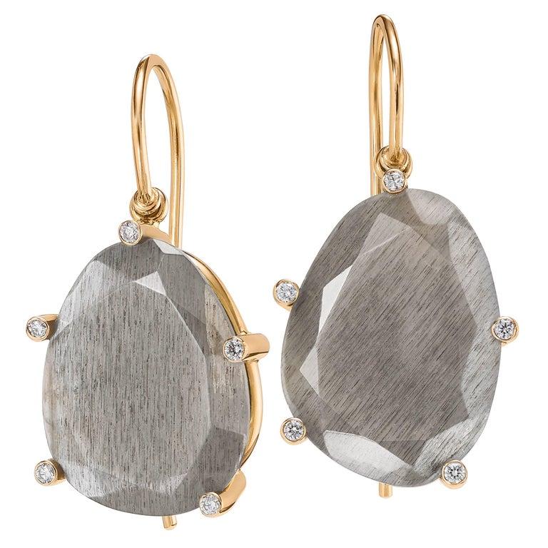 Erich Zimmermann Reflective Gray Moonstone White Diamond Rose Gold Earrings For Sale