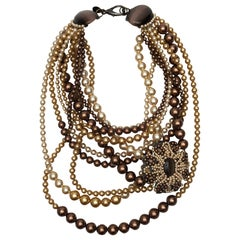 Erickson Beamon Brown & Tan Multistrand Pearl Necklace