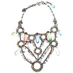 Erickson Beamon Swarovski Turquoise & Green Crystals Tiered Collar Bib Necklace