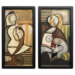 Erico Baj Carved Silver and Gold Gilded Mixed-Media Wood Panels Picasso Style