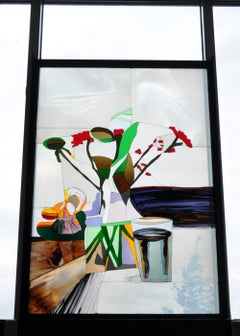 "Scandinavian Stained Glass Window, ""Arrangement of flower vase"""