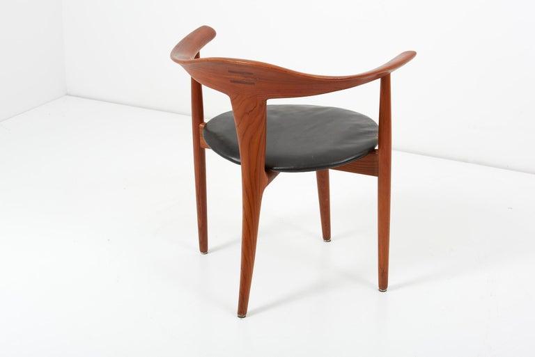 Erik Andersen & Palle Pedersen Chair in Teak, Leather for Randers, Denmark 1960s In Good Condition For Sale In Berlin, DE