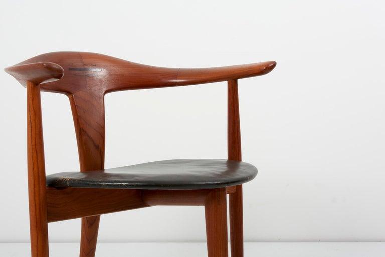 Erik Andersen & Palle Pedersen Chair in Teak, Leather for Randers, Denmark 1960s For Sale 3