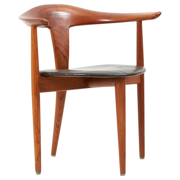 Erik Andersen & Palle Pedersen Chair in Teak, Leather for Randers, Denmark 1960s For Sale
