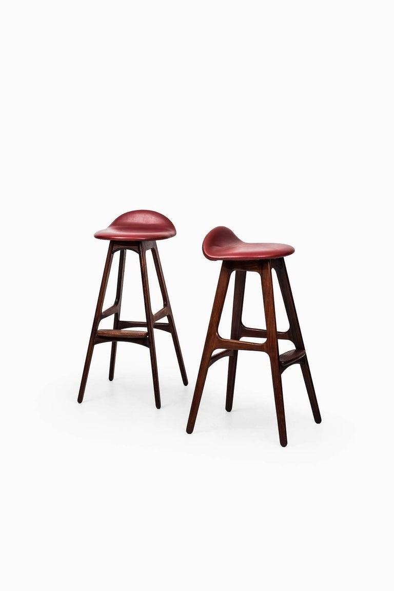 Scandinavian Modern Erik Buch Bar Stools Model OD-61 by Odense Møbelfabrik in Denmark For Sale