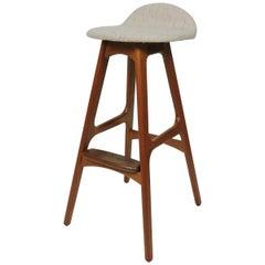 Erik Buch Buck Midcentury Danish Modern Teak and Rosewood Counter Bar Stool