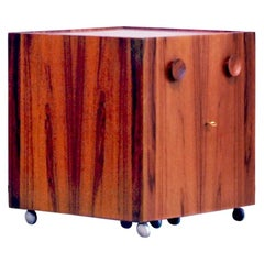 Erik Buch Folding Bar / Cabinet by Dyrlund Denmark Rosewood Brass, 1960s