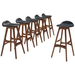 Erik Buch for O.D. Mobler, Set of Six Bar Stools, Denmark, 1960s
