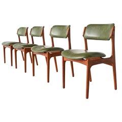 Erik Buch Model 49 Teak Dining Chairs Oddense Maskinsnedkeri, Denmark, 1960