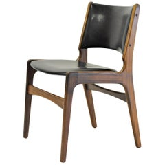 Erik Buch Restored and Refinished Danish Teak Dining Chairs with Black Leather
