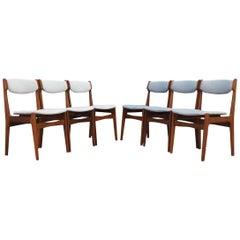 Erik Buch Set of 6 Teak Gray Chairs Danish Design, 1960s