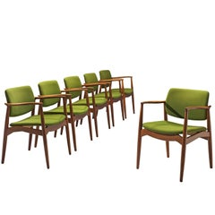 Erik Buch Set of Captain Chairs in Green Fabric