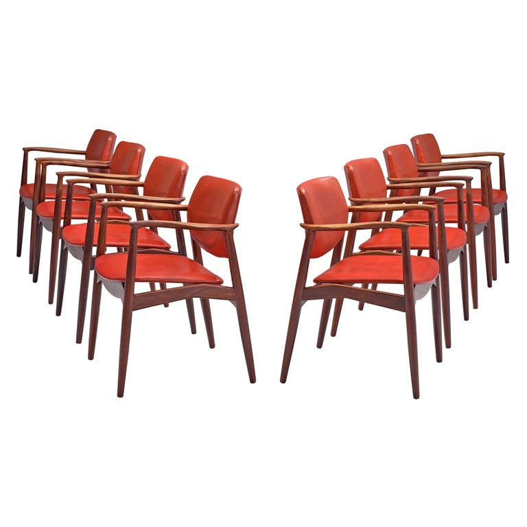 Erik Buch Set of Eight Rosewood Chairs For Sale