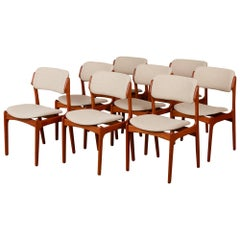 Erik Buch Set of Eight Teak Dining Chairs