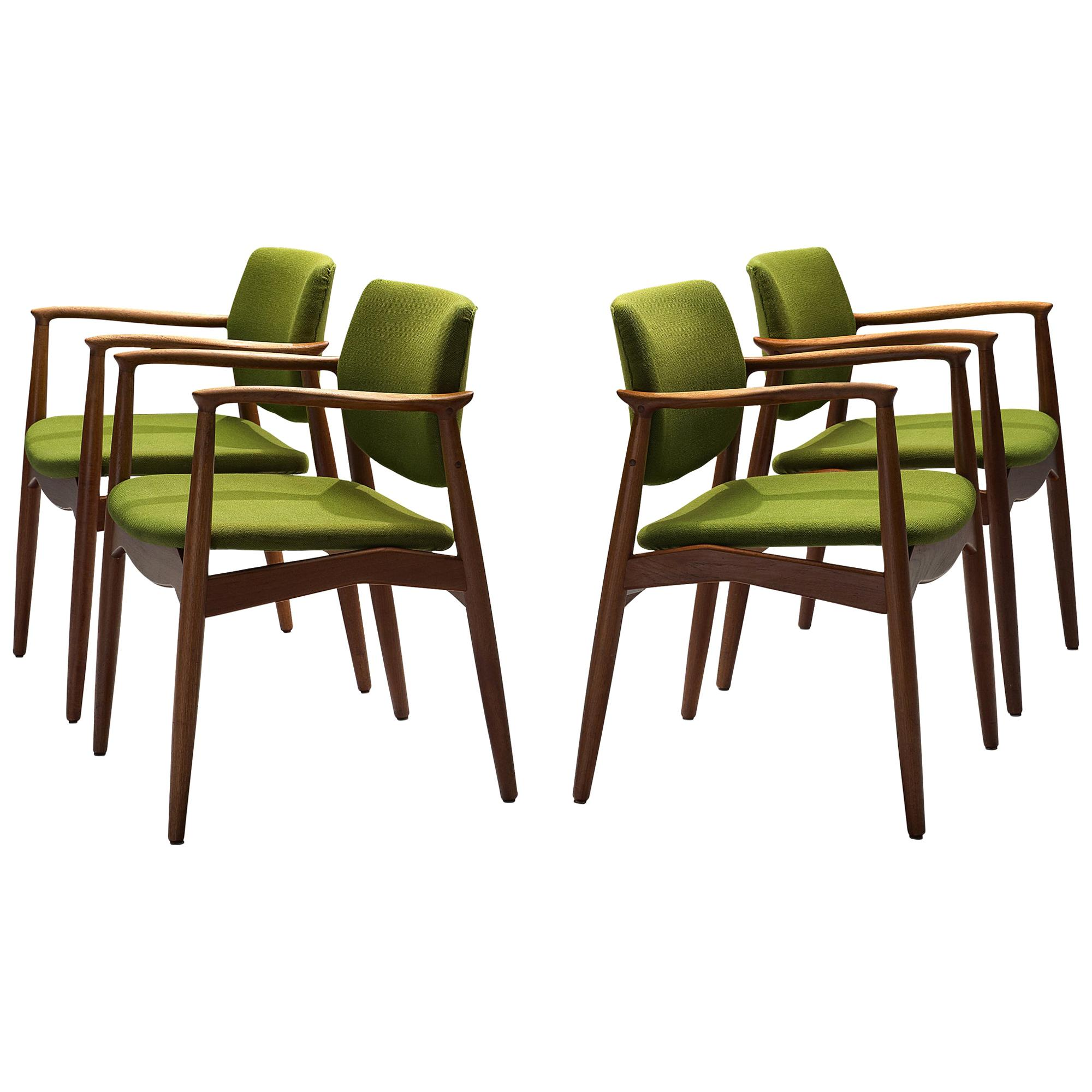 Erik Buch Set of Four 'Captains' Armchairs in Teak and Green Fabric Upholstery