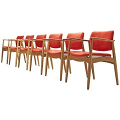 Erik Buch Set of Six 'Captains' Armchairs in Oak and Red Fabric Upholstery