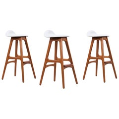 Erik Buch Teak and White Leather Bar Stools for Oddense Maskinsnedkeri
