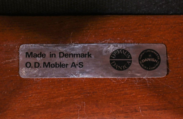 Erik Buch Teak & Black Leather Bar Stools for Oddense Maskinsnedkeri For Sale 5