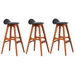 Erik Buch Teak & Black Leather Bar Stools for Oddense Maskinsnedkeri