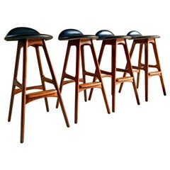 Erik Buch Teak & Rosewood Bar Stools Model OD-61 Set of Four Oddense Møbelfabrik