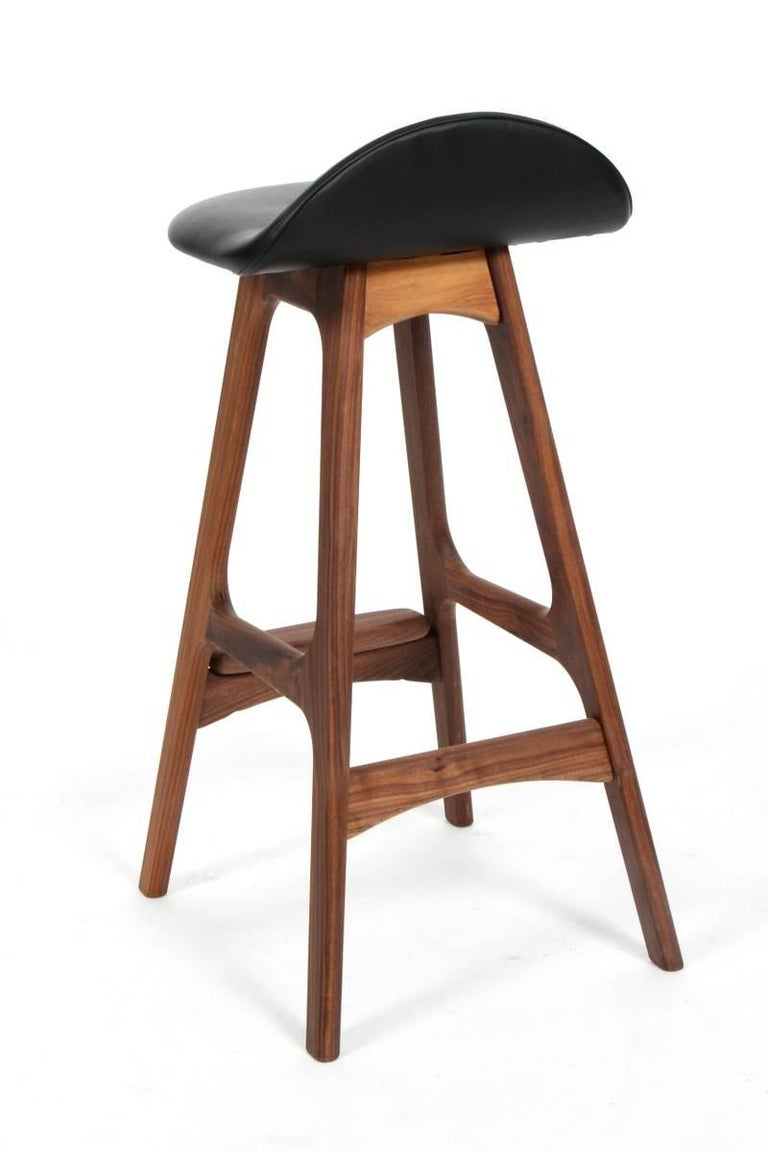 Scandinavian Modern Erik Buck OD61 Walnut Counter Stools For Sale