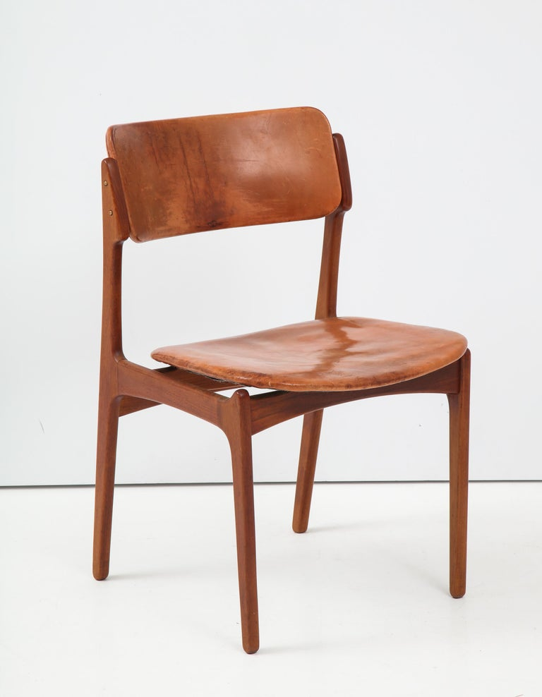 Scandinavian Modern Erik Buck Teak and Leather Chair For Sale