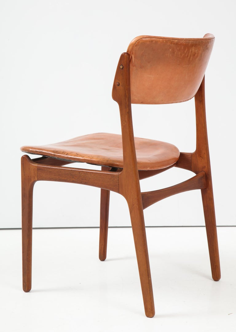 Erik Buck Teak and Leather Chair In Good Condition For Sale In New York, NY