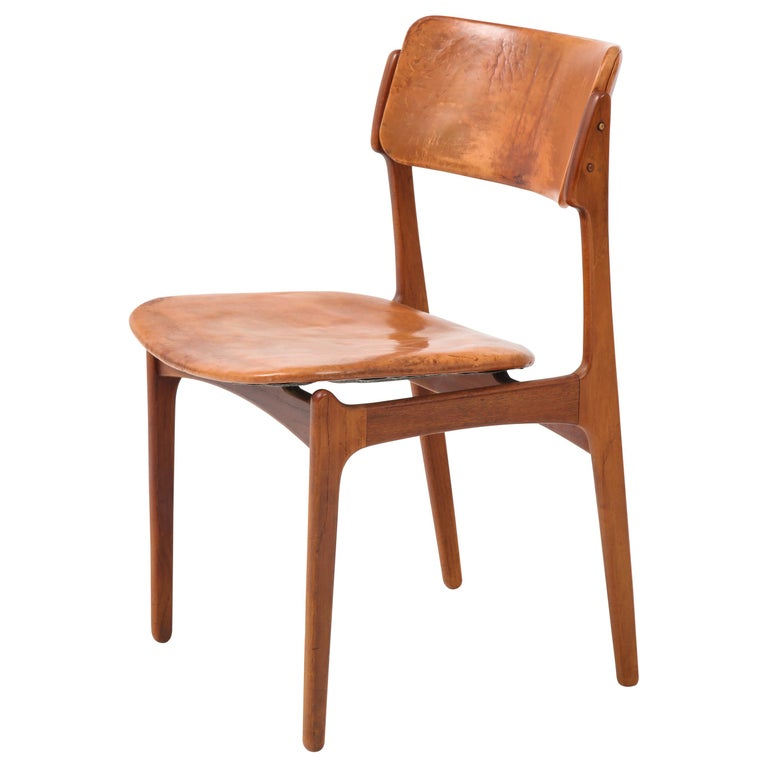 Erik Buck Teak and Leather Chair For Sale